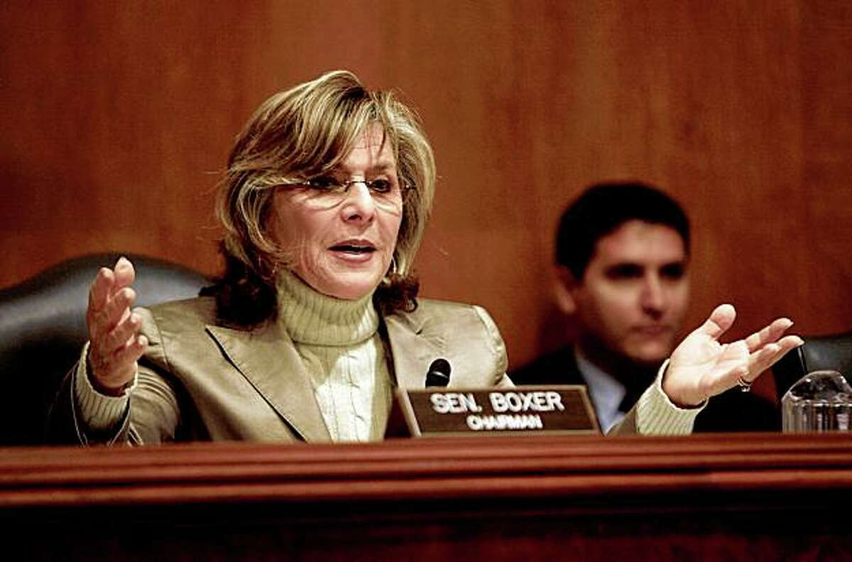 WASHINGTON - APRIL 02: U.S. Senate Environment and Public Works Committee Chairman Barbara Boxer (D-CA) questions witnesses during a hearing about the possible listing of the polar bear under the Endangered Species Act April 2, 2008 in Washington, DC. U.S. Interior Secretary Dirk Kempthorne was invited to testify but declined until he said he could provide more information regarding the listing of the polar bear as endangered. According to conservation groups, polar bears are threatened because their habitat, sea ice, is shrinking from global warming. (Photo by Chip Somodevilla/Getty Images)