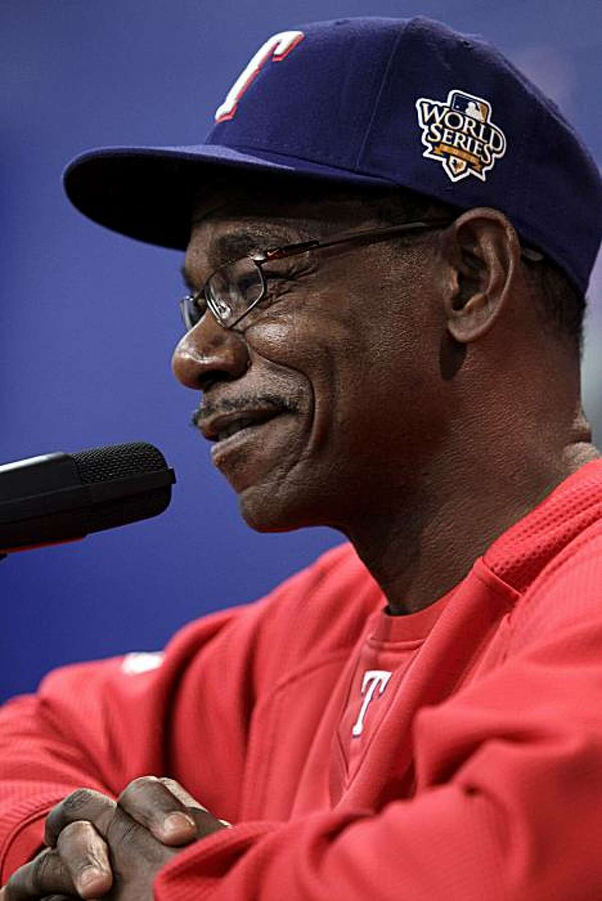 Texas Rangers manager Ron Washington responds to a question during a news conference before practice for baseball's World Series, Sunday, Oct. 24, 2010, in Arlington, Texas. The Rangers and the San Francisco Giants are scheduled to play Wednesday in the first game of the series.