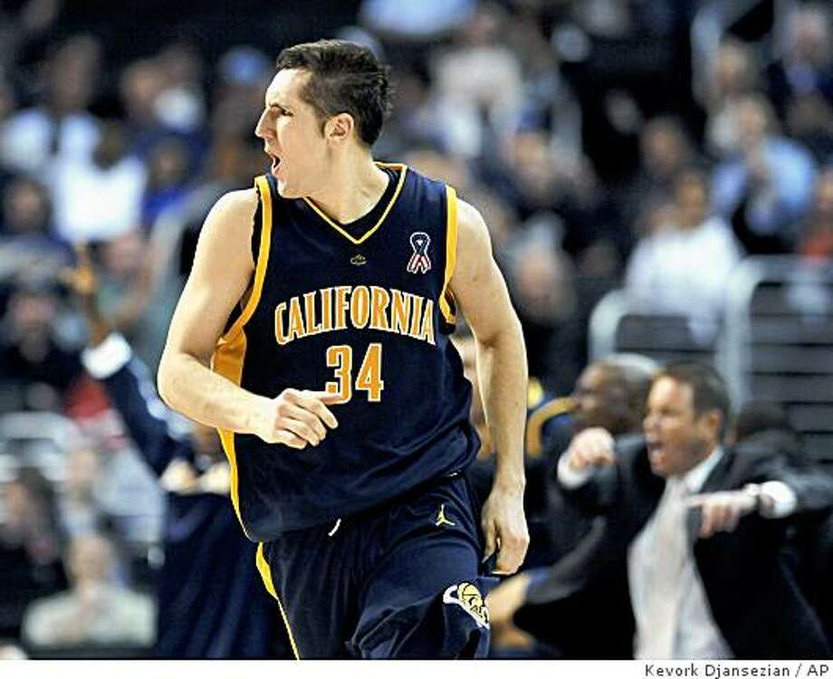 California's Ryan Anderson runs up the court after scoring a 3-point basket against Washington during the second half of a basketball game in the Pac-10 men's basketball tournament in Los Angeles on Wednesday, March 12, 2008. California won 84-81. (AP Photo/Kevork Djansezian) Photo: Kevork Djansezian, AP