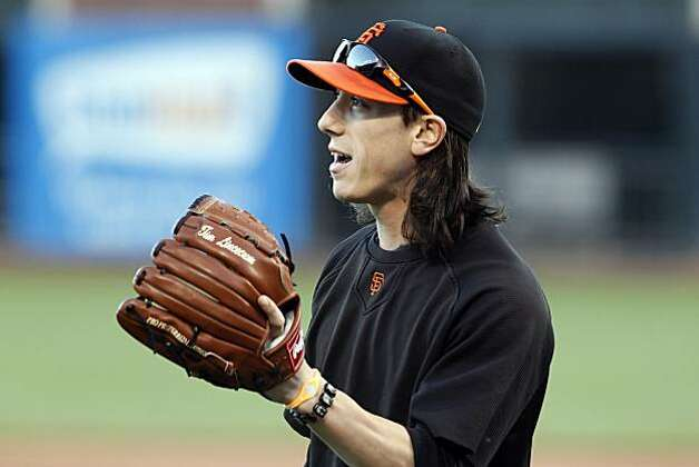 Tim Lincecum will pitch the first game of the World Series in San Francisco on Wednesday. The San Francisco Giants held their first team practice at AT&T Park in San Francisco, Calif., on Monday, October 25, 2010, following their NLCS win over the weekend. The team is now preparing for the World Series which opens at AT&T Park on Wednesday. Photo: Carlos Avila Gonzalez, The Chronicle