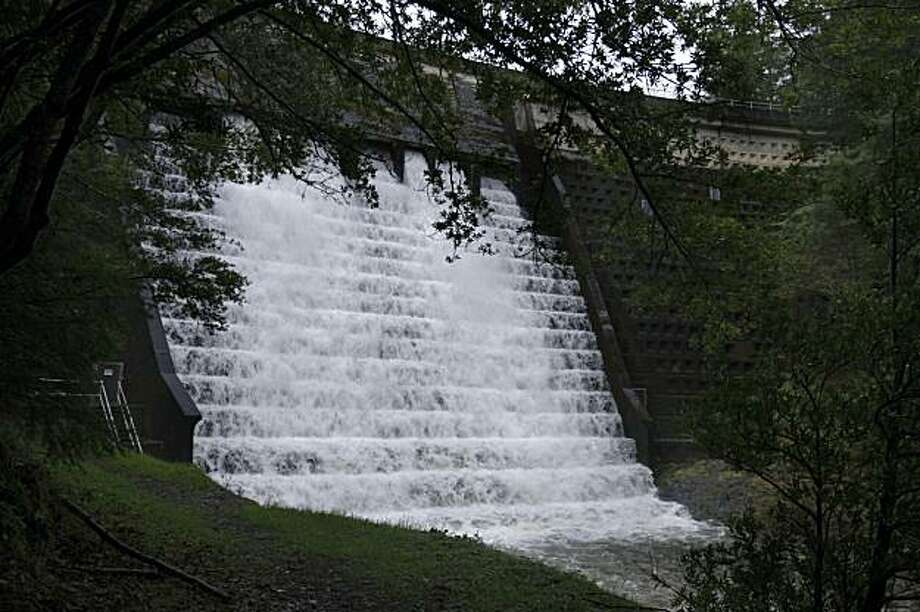 looking up at Alpine dam in Marin from Lagunitas Creek where there is a 650 foot waterfall that is man made.   on Tuesday  Mar 3,  2009 in Fairfax, Calif Photo: Kurt Rogers, The Chronicle