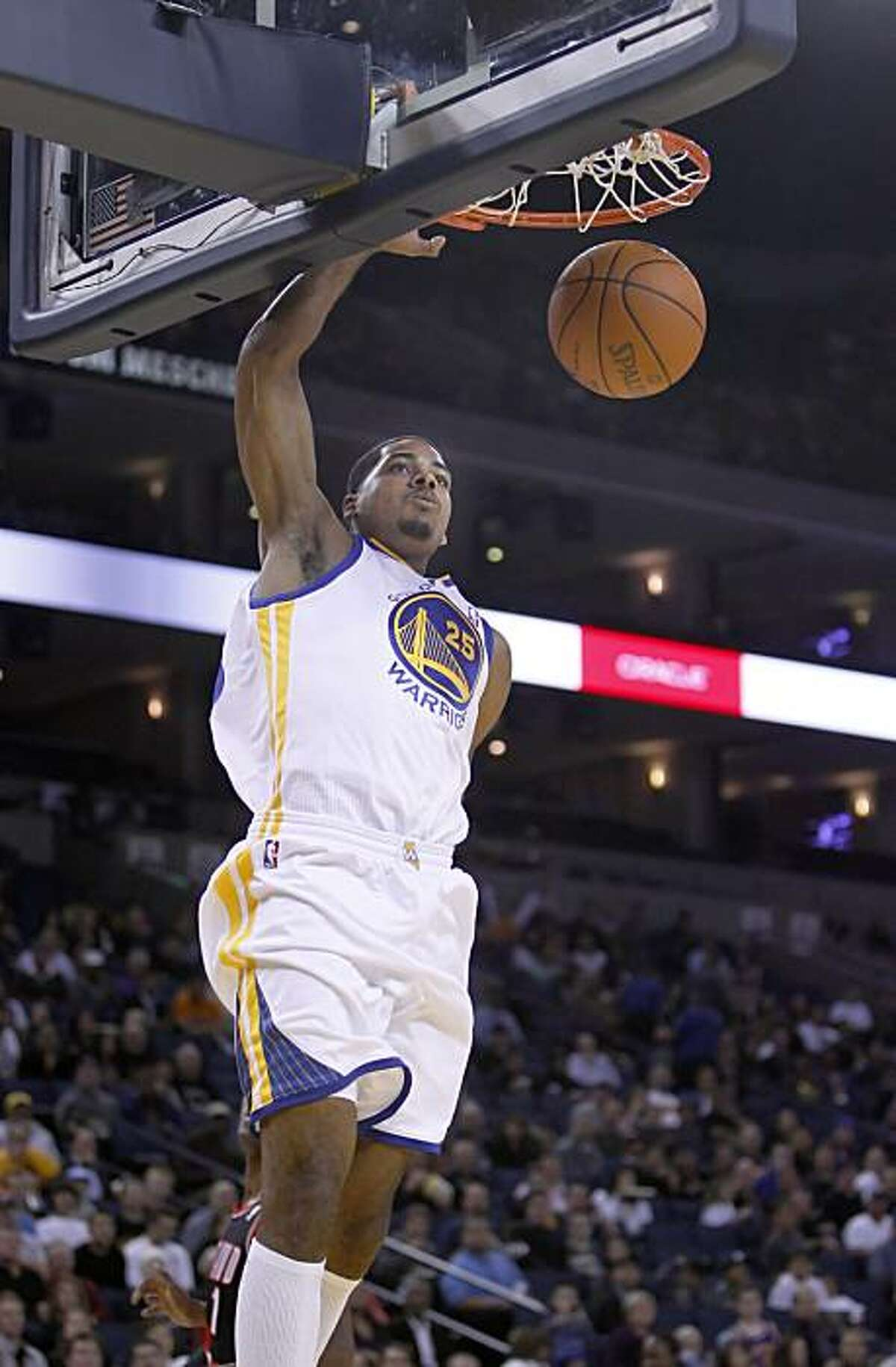 Golden State Warriors' forward, Rodney Carney dunks in game action against the Portland Trail Blazer on Monday, October 18, 2010.