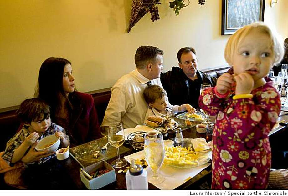 Hailey Carleton (right), age 2, eats lunch during a baptism party for another child at Le Zinc, a Noe Valley bistro located at 4063 24th St. in San Francisco, Calif., on Thursday, February 26, 2009. Photo: Laura Morton, Special To The Chronicle