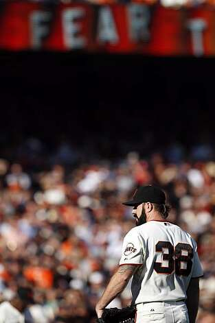 Giants closer, Brian Wilson, started the ninth inning for the Giants. The San Francisco Giants played the Philadelphia Phillies at AT&T Park in San Francisco, Calif., on Tuesday, October 19, 2010, in Game 3 of the National League Championship Series. The Giants defeated the Phillies 3-0. Photo: Carlos Avila Gonzalez, The Chronicle