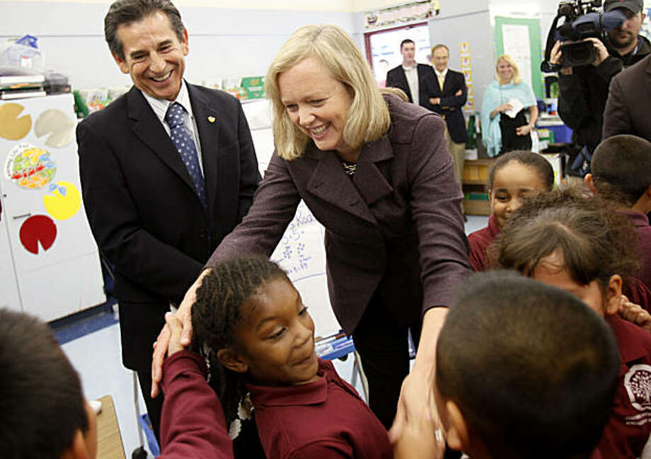 Meg Whitman shook hands with second graders at Jefferson Elementary School while school board member Noel Gallo (left) looked on. California gubernatorial candidate Meg Whitman made two appearances in Oakland, Calif., Monday October 18, 2010. Photo: Brant Ward, The Chronicle