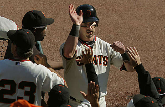 Giants Aaron Rowand scored on a Freddy Sanchez single in the fifth inning to make it 3-0 as the San Francisco Giants beat the Philadelphia Phillies in game 3 of the National League Championship Series, on Tuesday Oct. 19, 2010 at AT&T Park, in San Francisco, Calif. Photo: Michael Macor, The Chronicle