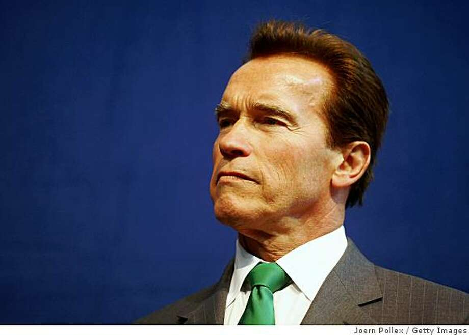 HANOVER, GERMANY - MARCH 03:  California Governor Arnold Schwarzenegger addresses journalists during a briefing prior to the Germany - California ICT Business Summit at the world's biggest high-tech fair, the CeBIT, on March 3, 2009 in Hanover, Germany. California is this year's guest of honour.  (Photo by Joern Pollex/Getty Images) Photo: Joern Pollex, Getty Images
