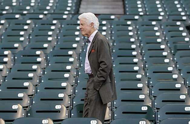San Francisco Giants managing general partner William H. Neukom watches practice from the stands for Game 1 of baseball's World Series against the Texas Rangers Tuesday, Oct. 26, 2010, in San Francisco. Photo: Eric Risberg, AP