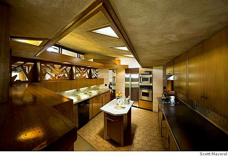 Kitchen of Fawcett House designed by an aging Frank Lloyd Wright in 1955 and completed in 1961, two years after his death. It's on the market for $2.7 million. Details: 5 bedrooms, 4.5 baths, 3,700 square feet on 80 acresFrank Lloyd Wright Fawcett House Photo: Scott Mayoral