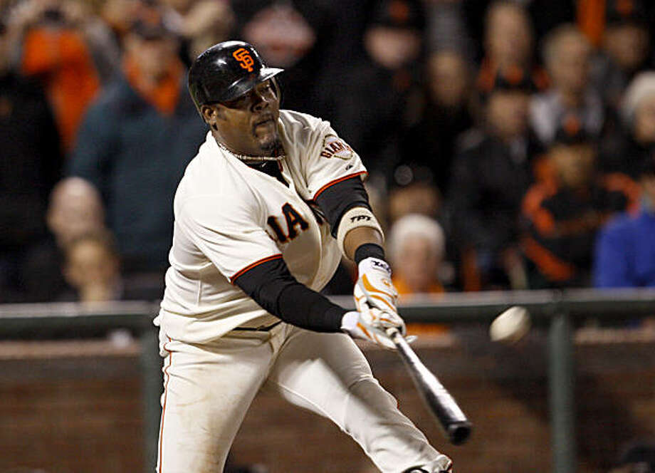Juan Uribe had the winning RBI hit in the 9th inning. San Francisco Giants defeated the Philadelphia Phillies  6-5 on October 20, 2010 at AT&T park. Photo: Lance Iversen, The Chronicle