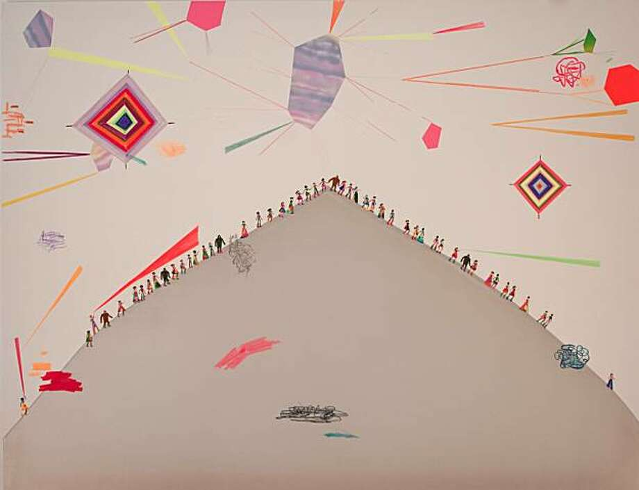 """Shining Mountain"" (2010), 70""x55"", embroidery thread, fabric, spraypaint, marker Photo: Michael Rosenthal"