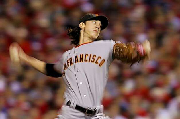 Giants starting pitcher Tim Lincecum throws in the first inning of Game 1 of the National League Championship Series on Saturday at Citizens Bank Park in Philadelphia. Photo: Michael Macor, The Chronicle