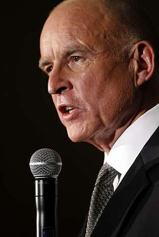 Gubernatorial candidate Jerry Brown addresses the press after he and his opponent, Med Whitman, faced off in a debate at Dominican University in San Rafael, Calif., on Tuesday, October 12, 2010. Photo: Carlos Avila Gonzalez, The Chronicle