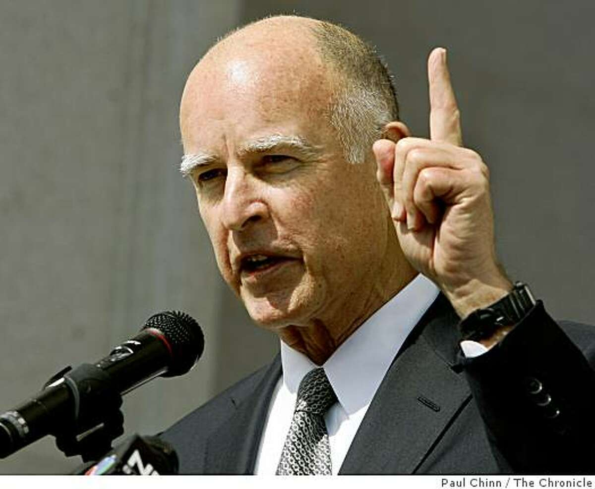 California Attorney General Jerry Brown speaks to a crowd gathered in front of the Earl Warren State Building after the California State Supreme Court heard arguments over the constitutionality of Proposition 8 in San Francisco, Calif., on Thursday, March 5, 2009.