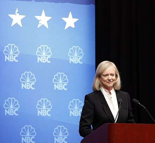 Republican gubernatorial candidate Meg Whitman waits at the podium for the beginning of the debate at Dominican University in San Rafael on Tuesday. Photo: Carlos Avila Gonzalez, The Chronicle