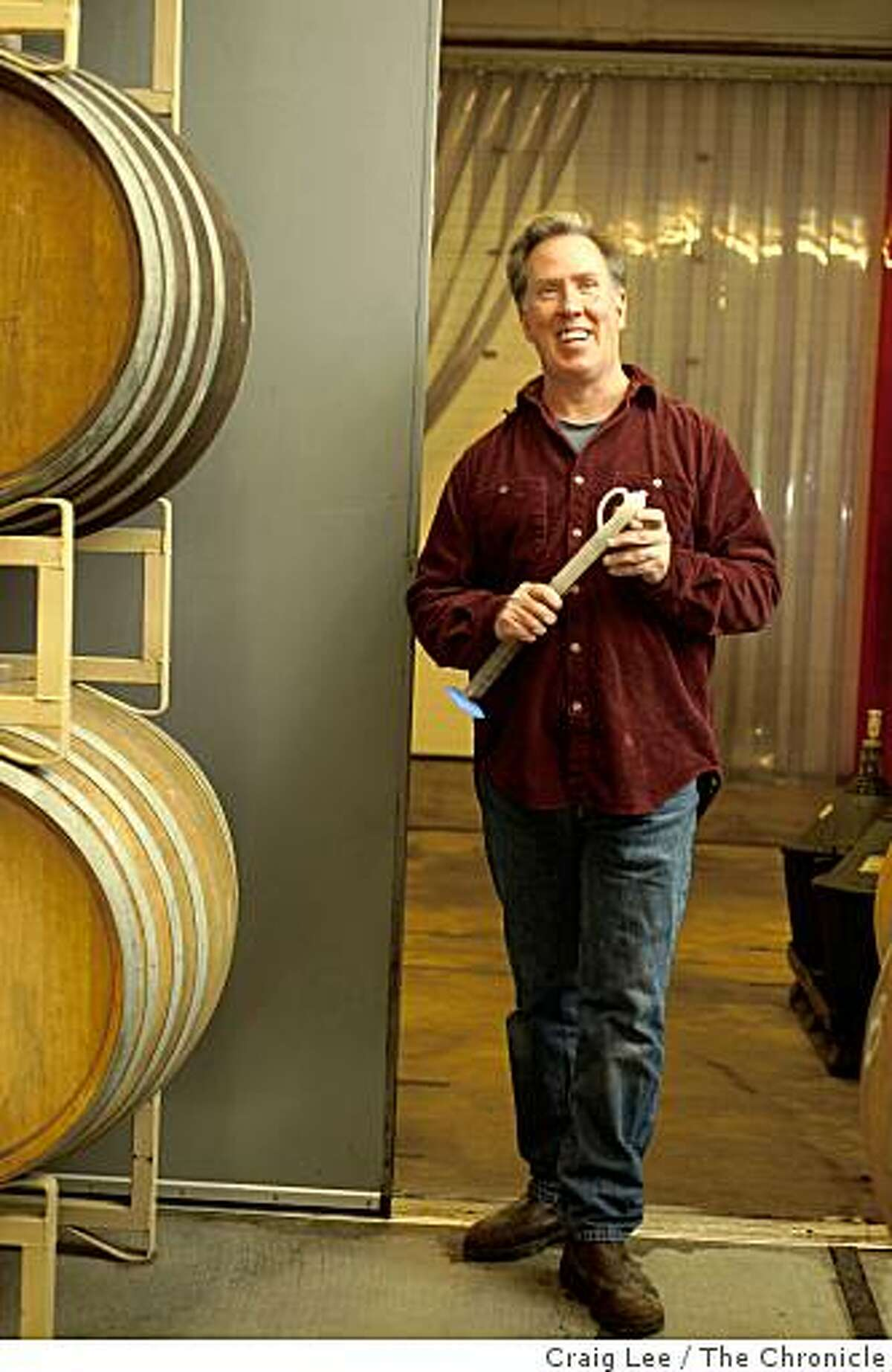 Mark Doherty, winemaker at Hirsch winery in Cazadero, Calif., on February 23, 2009.