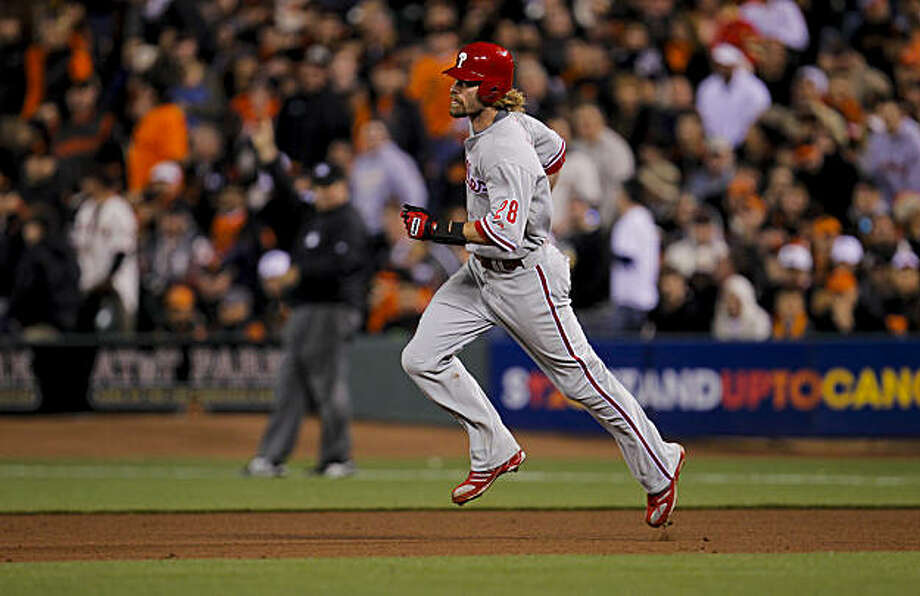 Phillies Jayson Werth rounds the bases after his solo home run in the ninth inning, as the San Francisco Giants fall to the Philadelphia Phillies 4-2, in game 5 of the National League championship Series,  on Thursday Oct. 21, 2010 at AT&T Park, in San Francisco, Calif. Photo: Michael Macor, The Chronicle
