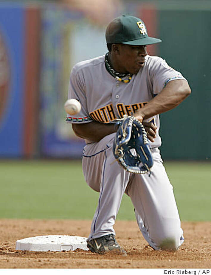 A throw to South Africa second baseman Gift Ngoepe goes past him during the first inning of an exhibition spring baseball game against the Los Angeles Angels in Tempe, Ariz., Wednesday, March 4, 2009. Angels' Sean Rodriguez stole second on the play. (AP Photo/Eric Risberg) Photo: Eric Risberg, AP