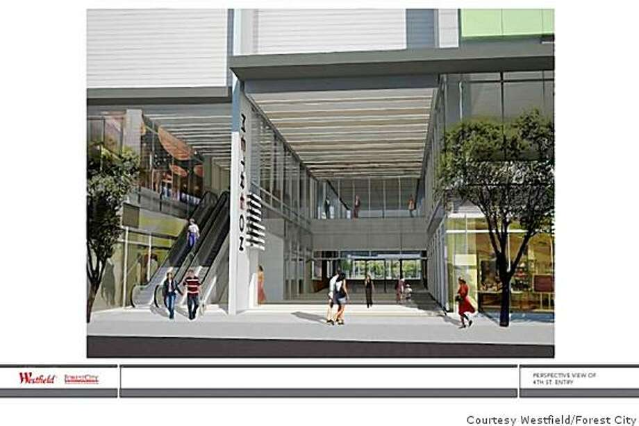 An architectural rendering of revised entrance that has been approved for the Metreon complex on Fourth Street in San Francisco's Yerba Buena district.  Courtesy of Westfield and Forest City. Photo: HO, Courtesy Westfield/Forest City