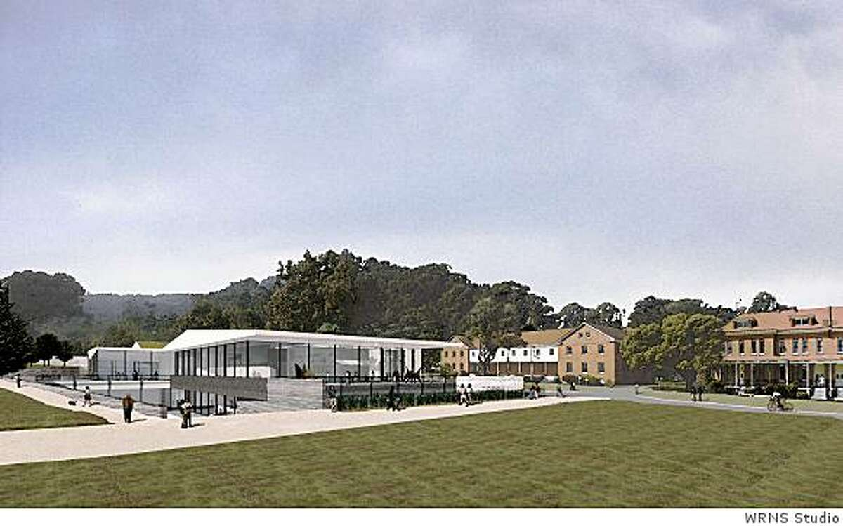 A rendition of the contemporary art museum proposed for the Main Post of San Francisco's Presidio. The red barracks on the right now exist; the green at present is a parking lot.