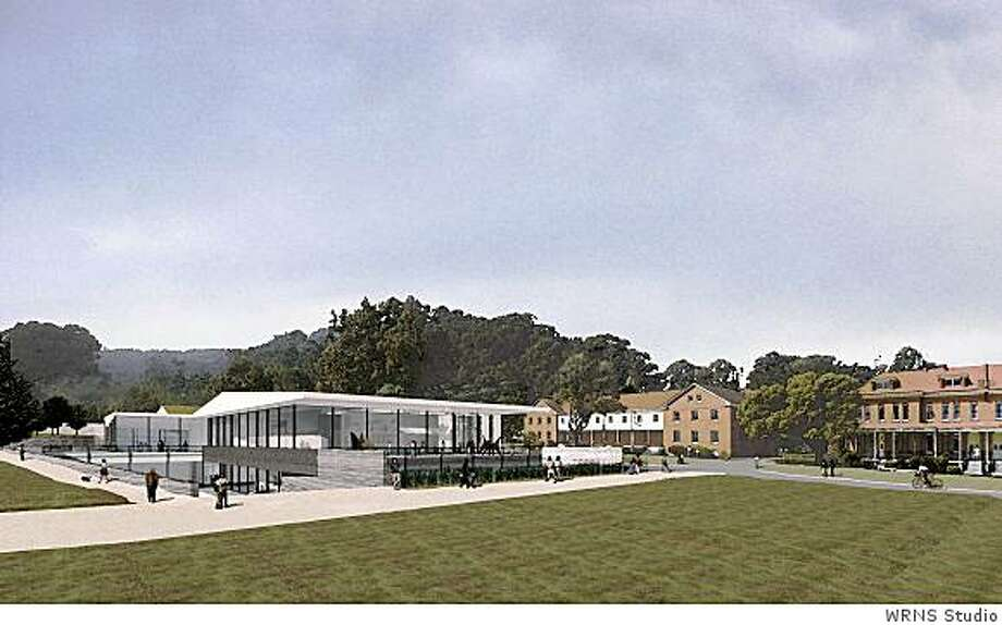 A rendition of the contemporary art museum proposed for the Main Post of San Francisco's Presidio. The red barracks on the right now exist; the green at present is a parking lot. Photo: WRNS Studio