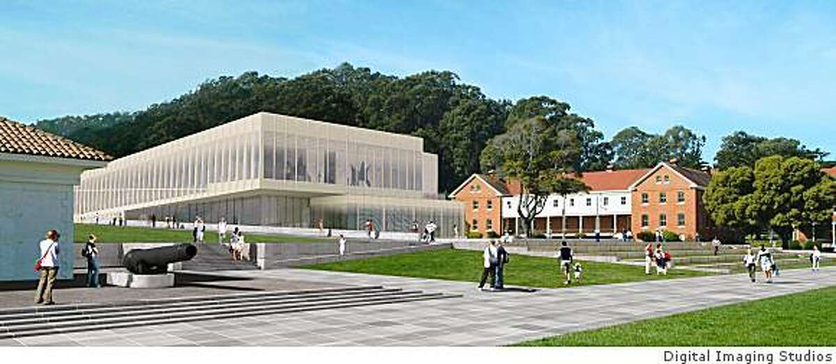 A computer rendering of the proposed Contemporary Art Museum at the Presidio as it might look from the central green planned for the Presidio's Main Post.