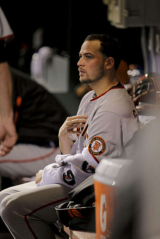 Giants starting pitcher Jonathan Sanchez, sits in the dugout  after walking in a batter with the bases loaded, as the San Francisco Giants fall to the Philadelphia Phillies 6-1 in game 2 of the National League Championship Series, on Sunday Oct. 17, 2010 at Citizens Bank Park, in Philadelphia, Pa. Photo: Michael Macor, The Chronicle