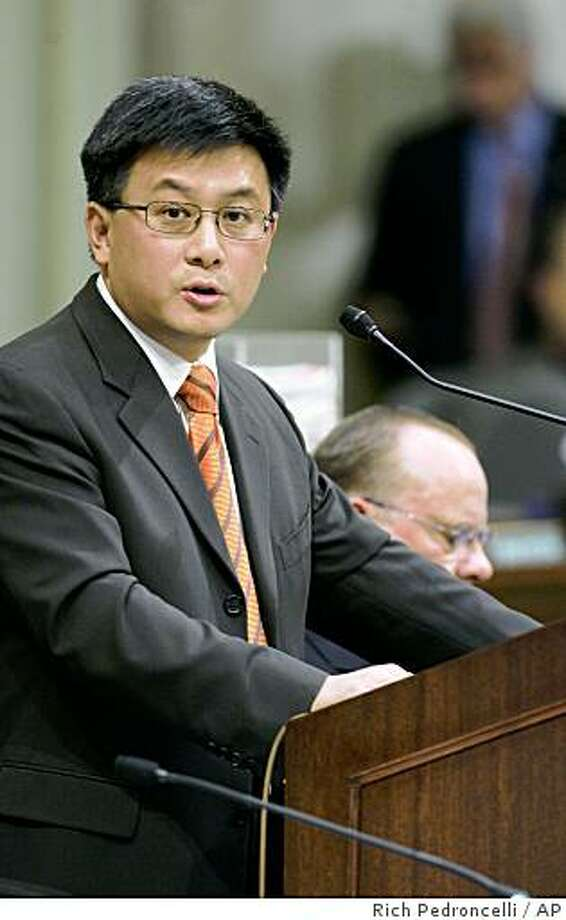 California State Controller John Chiang discusses the growing state budget deficit while testifying before a joint session of the legislative budget committee at the Capitol in Sacramento, Calif., Monday, Dec. 8, 2008.(AP Photo/Rich Pedroncelli) Photo: Rich Pedroncelli, AP
