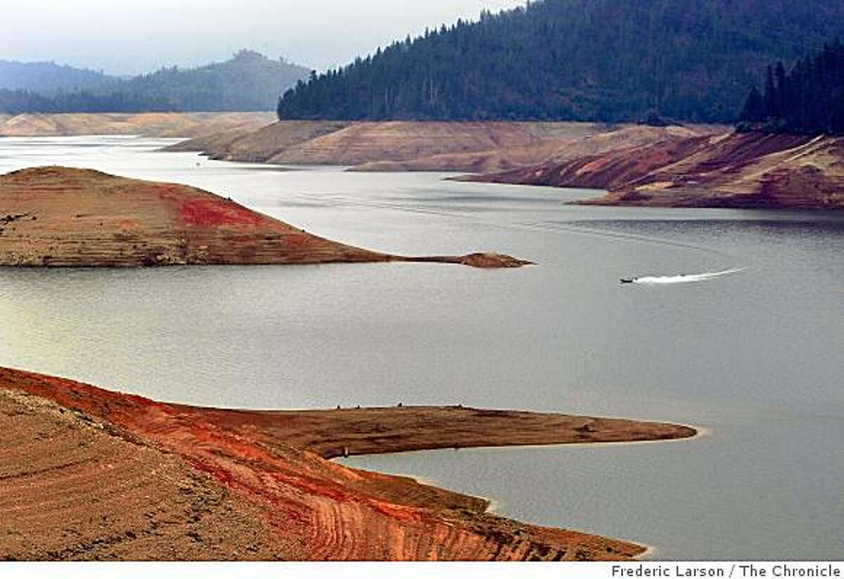 Lake Shasta in California seems to running on empty as drought fears are evident by the low water line seen early this month on February 8, 2009.