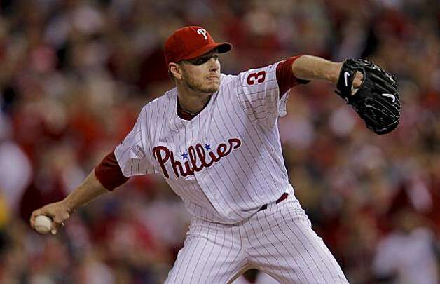 Phillies starting pitcher Roy Halladay throws in the first inning of Game 1 of the National League Championship Series on Saturday at Citizens Bank Park in Philadelphia. Photo: Michael Macor, The Chronicle