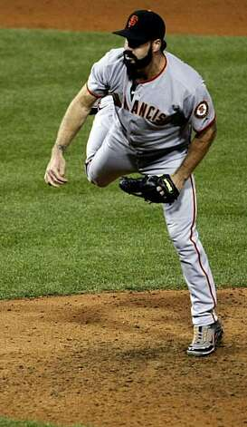 Giants closer Brian Wilson works in the ninth inning of Game 1 of the NLCS at Citizens Bank Park in Philadelphia on Saturday. Photo: Lance Iversen, The Chronicle