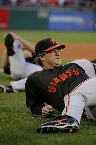 San Francisco Giants pitcher Ramon Matt Cain stretches as the team prepares for Game 1 of the National League Championship Series against Philadelphia on Saturday at Citizens Bank Park in Philadelphia. Photo: Michael Macor, The Chronicle