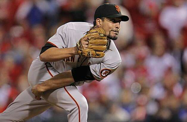 Giants pitcher Javier Lopez works in the seventh inning of Game 1 of the National League Championship Series on Saturday at Citizens Bank Park in Philadelphia. Photo: Michael Macor, The Chronicle