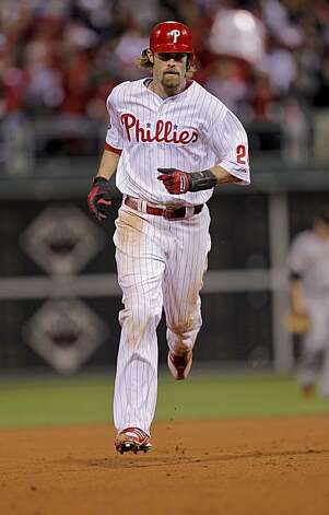 The Phillies' Jayson Werth rounds the bases after his 2-run home run in the sixth inning of Game 1 of the National League Championship Series on Saturday at Citizens Bank Park in Philadelphia. Photo: Michael Macor, The Chronicle