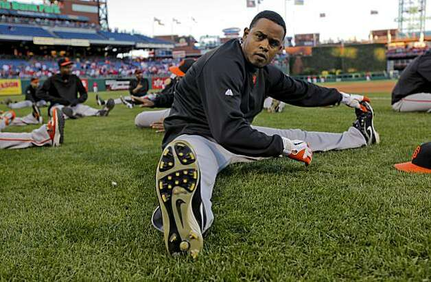 The Giants' Ramon Ramirez stretches as the team prepares for Game 1of the National League Championship Series against Philadelphia on Saturday at Citizens Bank Park in Philadelphia. Photo: Michael Macor, The Chronicle