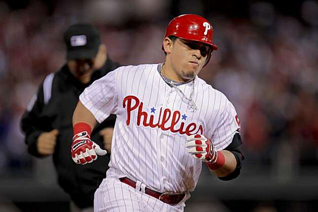 Phillies catcher Carlos Ruiz rounds the bases after his third inning home run against the Giants in Game 1 of the National League Championship Series on Saturday at Citizens Bank Park in Philadelphia. Photo: Michael Macor, The Chronicle