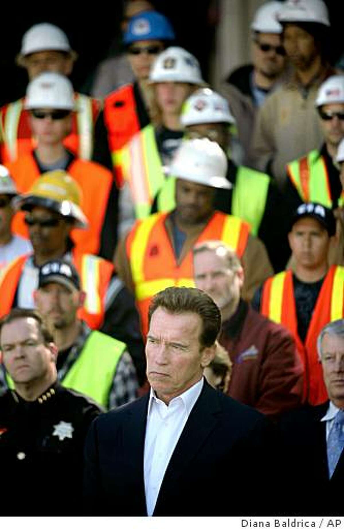 California Gov. Arnold Schwarzenegger is seen at a news conference on Friday, Feb. 27, 2009 in Fresno, Calif. Schwarzenegger was promoting six budget-related measures that will appear on the May 19 special election ballot. (AP Photo/The Fresno Bee, Diana Baldrica)