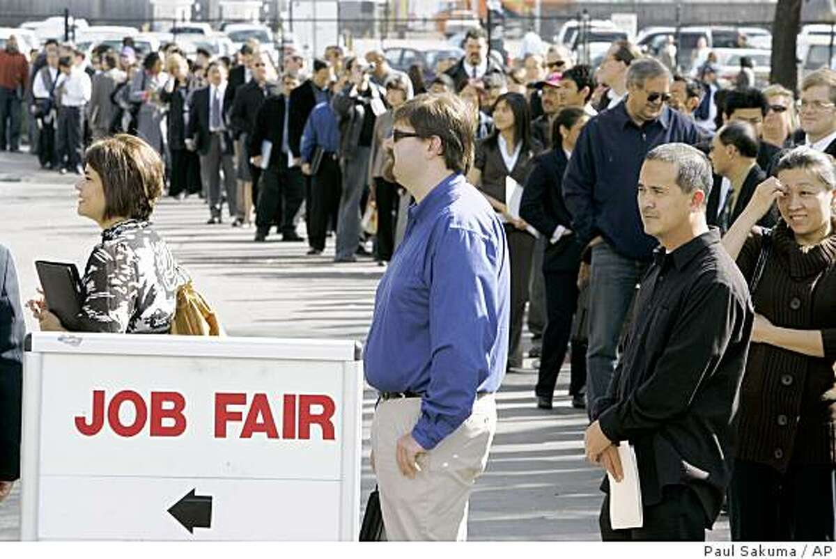 Hundreds of people wait in line to get into a job fair presented by Jobs & Careers Newspaper and Job Fairs in San Mateo, Calif., Wednesday, Feb. 25, 2009. The number of newly laid-off Americans seeking unemployment benefits rose far more than expected last week as employers cut thousands of jobs amid a deepening recession. (AP Photo/Paul Sakuma)