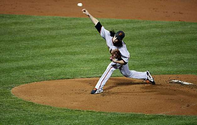 Tim Lincecum pitches in the first inning of Game 1 of the NLCS at Citizens Bank Park in Philadelphia on Saturday. Photo: Lance Iversen, The Chronicle