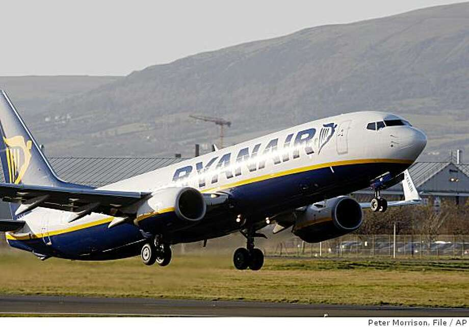 In this Dec. 1, 2008 file photo a Ryanair jet takes off from Belfast City Airport.  Photo: Peter Morrison, File, AP