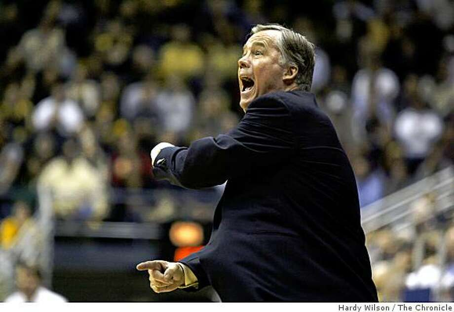 Cal Bears coach Michael Montgomery shouts to his players in a game against the USC Trojans on Thursday, February 26, 2009, at Haas Pavilion in Berkeley, Calif. Photo: Hardy Wilson, The Chronicle