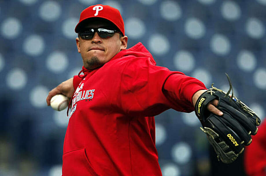 Phillies catcher Carlos Ruiz works out with the team at Citizens Bank Park in Philadelphia, Penn., Friday, Oct. 15, 2010, on the eve of their NLCS series games with the San Francisco Giants. Photo: Lance Iversen, The Chronicle