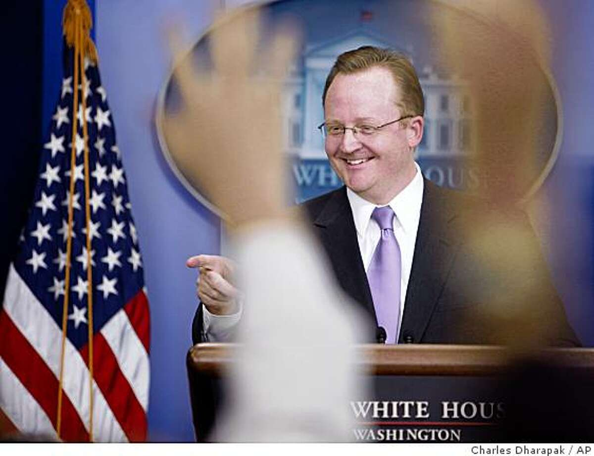 White House Press Secretary Robert Gibbs briefs reporters at the White House in Washington, Tuesday, March 3, 2009. (AP Photo/Charles Dharapak)