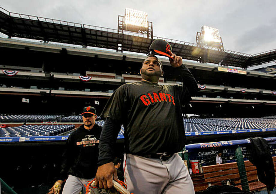 San Francisco Giants, Pablo Sandoval takes the field as the team holds their final workouts, on Friday Oct. 15, 2010 at Citizens Bank Park, in Philadelphia, Penn., before the start of the National League Championship Series. Photo: Michael Macor, The Chronicle