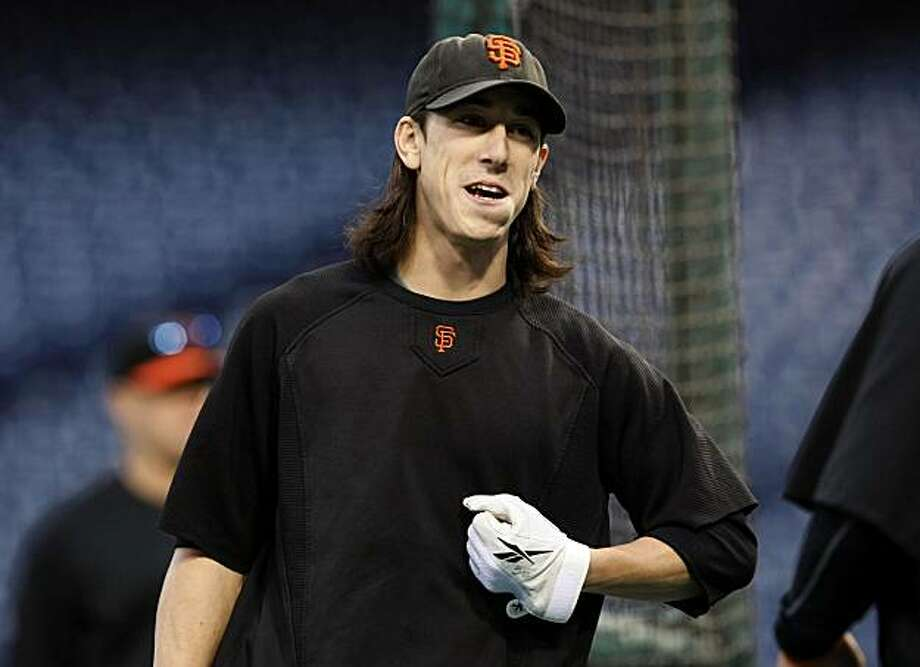 San Francisco Giants starting pitcher Tim Lincecum workout Citizens Bank Park in Philadelphia Friday, Oct. 15, 2010, on the eve of their NLCS series with the Philadelphia Phillies. Photo: Lance Iversen, The Chronicle