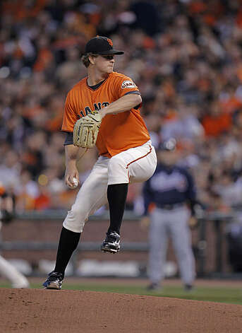 Giants pitcher Matt Cain in the first inning as the San Francisco Giants take on the Atlanta Braves  in Game 2 of the National League Division Series at AT&T Park in San Francisco, Calif., on Friday, October 8, 2010. Photo: Michael Macor, The Chronicle
