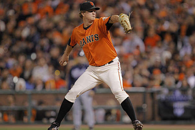 Giants starting pitcher Matt Cain in the first inning. The San Francisco Giants take on the Atlanta Braves  in Game 2 of the National League Division Series at AT&T Park in San Francisco, Calif., on Friday, October 8, 2010. Photo: Michael Macor, The Chronicle