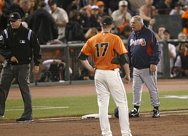 Braves Manager Bobby Cox argues a call at first base, leading to his ejection from the game as the San Francisco Giants take on the Atlanta Braves  in Game 2 of the National League Division Series at AT&T Park in San Francisco, Calif., on Friday, October 8, 2010. Photo: Michael Macor, The Chronicle
