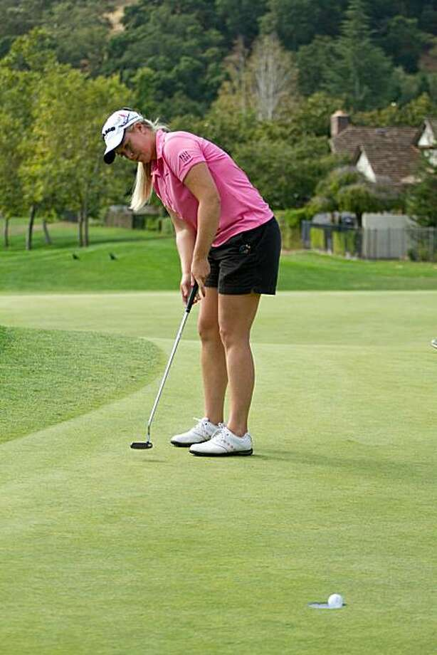DANVILLE, CA - OCTOBER 14: Brittany Lincicome sinks a birdie putt at the ninth hole to complete a round of 11-under par 61, setting a course record during the first round of the CVS/Pharmacy LPGA Challenge at Blackhawk Country Club on October 14, 2010 inDanville, California. Photo: Darren Carroll, Getty Images