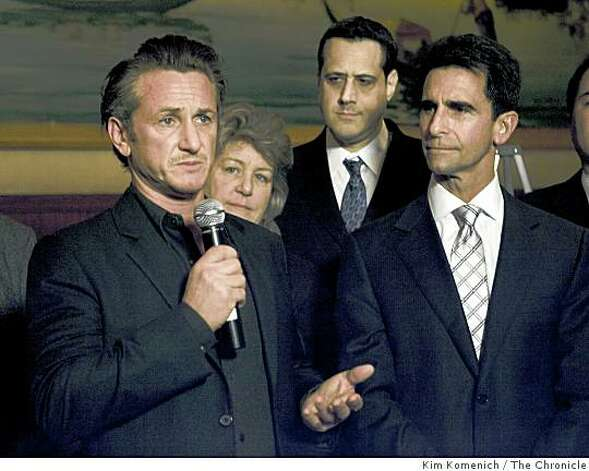 Actor Sean Penn, (L) who recently won an Academy Award for his portrayal of slain San Francisco Supervisor Harvey Milk, speaks at a press conference at Tosca Cafe in San Francsico, Calif, on Tuesday, Mar. 3, 2009, announcing the reintroduction of  California Senate Bill 572. Behind Penn are, from left, Anne Kronenberg, Milk's supervisorial campaign manager, Milk's nephew Stuart Milk and California State Senator Mark Leno of San Francisco. The bill, authored by Leno, would designate May 22 as Harvey Milk Day. Photo: Kim Komenich, The Chronicle